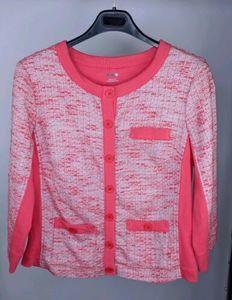 Three Dots L Cardigan Pink Tweed Pockets H9